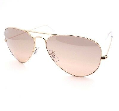 Ray Ban Aviator 3025 001/3E Gold Pink Brown New Authentic Italy Sunglasses