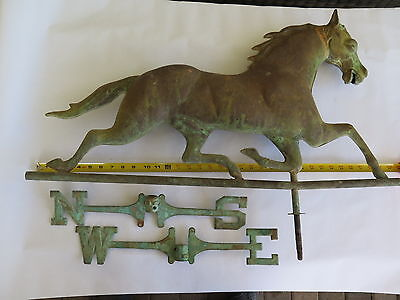 Antique Copper Running Horse (cast zinc head) Weathervane