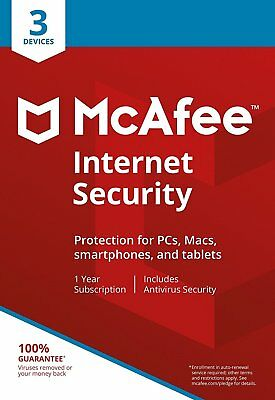 McAfee Internet Security 2019 1 Year Licence for 3 PC Users - Latest Edition