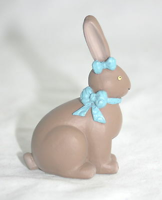 Blossom Bucket Easter Chocolate Bunny Figurine with Blue Bows  NEW
