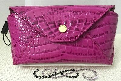 BRAHMIN Eyeglass Case Dahlia Melbourne Genuine Leather Hot Pink Berry