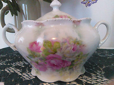 Antique Large Porcelain Sugar Bowl w/lid White & Pink Roses Made In Germany