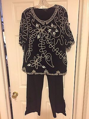 Nwot Blk Top W White Embroidery Blk Beads 1X + Lane Bryant Blk Embry Pnts 18-20