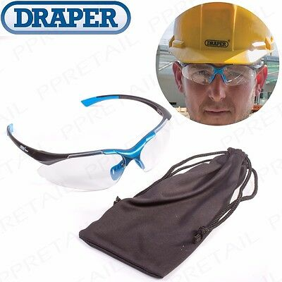 DRAPER EXPERT ANTI-SCRATCH SAFETY SPECTACLES  +  POUCH Glasses Goggles UV Work