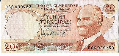 TURKEY BANKNOTE 20 P187a 1974 GVF SER D66 1/2 sig types this pick