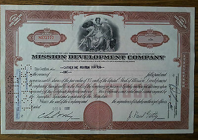 Mission Development Company Share Certificate Dec 9 1955 J Paul Getty