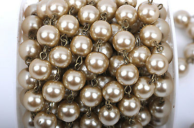 1 yard Taupe Pearl Rosary Chain, bronze, 12mm round glass pearl beads, FCH0420a