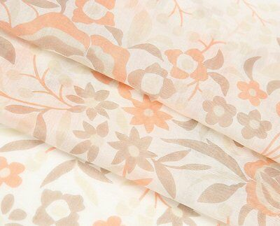53.2gpm Dark Brown or Light Peach Pink Flower Print Floral Silk Cotton Fabric