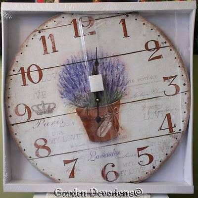 Wall Clock Lavender Plant 22 in Huge XL Large French Country Vintage Paris Wood