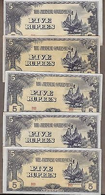 Lot of 5 World War II Japanese Occupation Notes 5 Rupees CIRC
