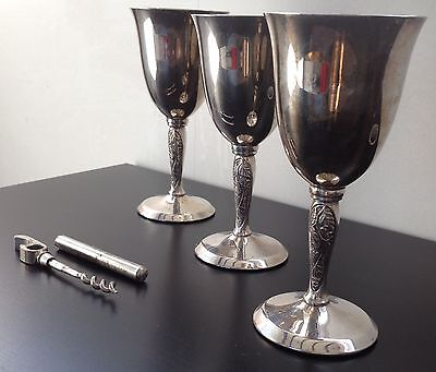 Set Of 3 Victorian Yeoman Silver Plated Vine Goblet Wine Glass Bottle Opener