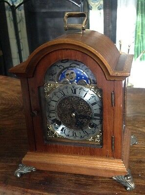 Vintage 8 Day German Movement Mantel Clock. Striking. Rolling Moon