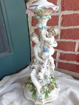 Antique German Dresden Meissen Era Lady Child Putti Floral Roses Porcelain Lamp