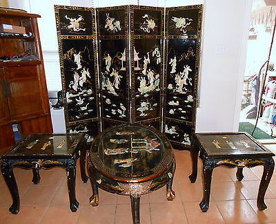Oriental Black Lacquer W/ Overlay Tables & Divider