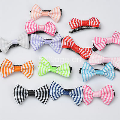 5X 10X  Randomly Girl Hair Clip Ribbon Bow Baby Kids Satin Bowknot Headband #3