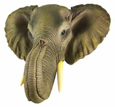 African Elephant Head Mount Wall Statue Mini Bust 9 In.
