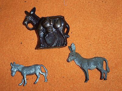 3 Donkey Mule Burro Figurines Petwer Germany Decoration Desk Weight Gift