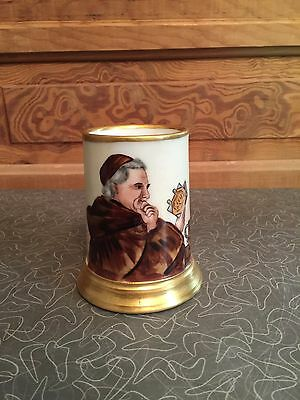 Antique France Porcelain Hand Painted Friar Stein Tankard Artist Signed
