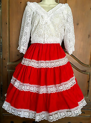 Vintage Custom Made Red & White Square Dance Outfit Skirt 2 Blouses Petticoat L