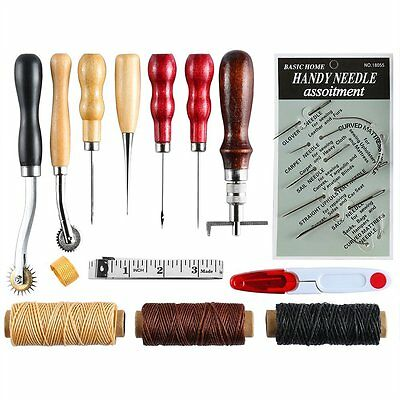 Caydo 14 Pieces Leather Craft Hand Including Stitching Groover Basic Hand Sewing