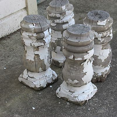 4 Antique Victorian Chunky Turned Gingerbread Porch Balusters,Chippy White Paint