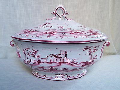 Grazia Deruta Italy Red White Porcelain Soup Tureen