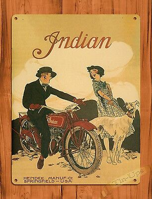 VINTAGE SIGNS Indian Motorcycle Collectible Tin Metal Rustic Sign ...