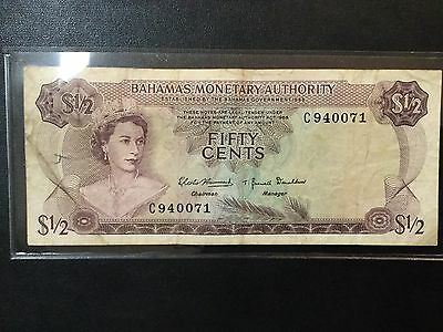 1968 Bahamas Paper Money - 50 Cents Banknote !