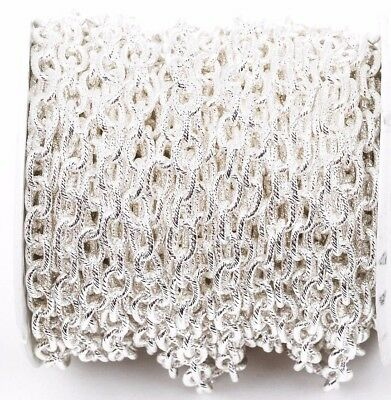 15yd Silver Cable Chain, Oval Links 9x6mm unsoldered, rope texture fch0222b