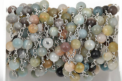 13ft AMAZONITE GEMSTONE Rosary Chain, Silver, 6mm round beads fch0498