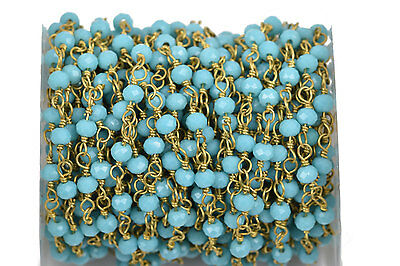 1yd TURQUOISE BLUE Crystal Rondelle Rosary Chain, Gold double wrap 4mm fch0522a