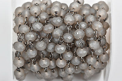 1yd FROSTED GREY Crystal Rondelle Rosary Chain, gunmetal, 8mm beads fch0528a