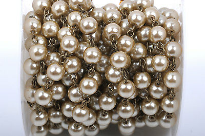 1yd Taupe Lt Brown Pearl Rosary Chain, bronze, 8mm round glass beads fch0412a