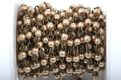 1yd Taupe Lt Brown Pearl Rosary Chain, bronze, 4mm round glass beads fch0414a