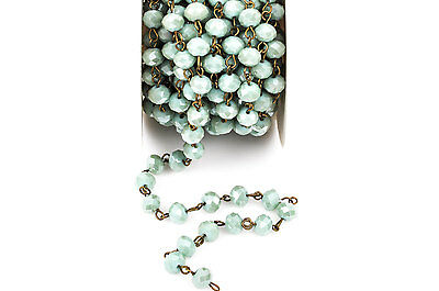13ft MINT GREEN Crystal Rondelle Rosary Chain, bronze bronze, 8mm beads fch0268b