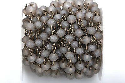 1yd FROSTED GREY Crystal Rondelle Rosary Chain, bronze, 6mm beads fch0431a