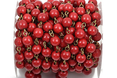 13ft RED Howlite Rosary Chain, bronze, 8mm round stone beads, fch0491b