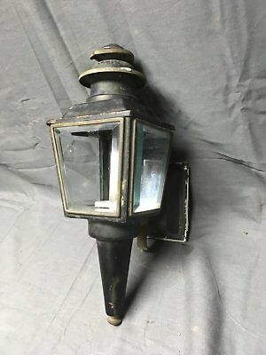 Vintage Copper Lantern Wall Sconce Light Fixture Beveled Glass Panels 209-17E