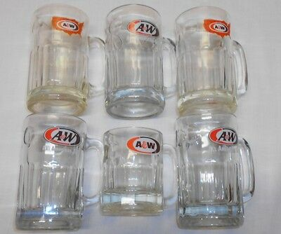 A&W Root Beer Mugs Mixed Lot Of 6 Vintage Glasses