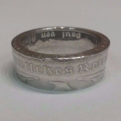 Third Reich WWII 1935 German 5 mark 90% silver coin Ring / size 12