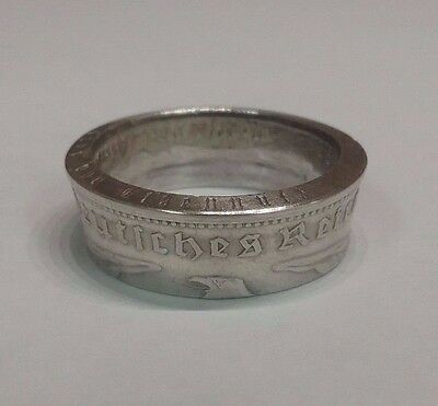 Third Reich WWII 1936 German 5 mark 90% silver coin Ring / size 12