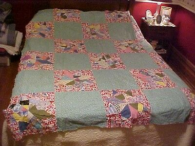 1930s QUILT TOP,  SCRAPPY 8 POINT STAR,  NICE GREEN/NAVY BLOCKS