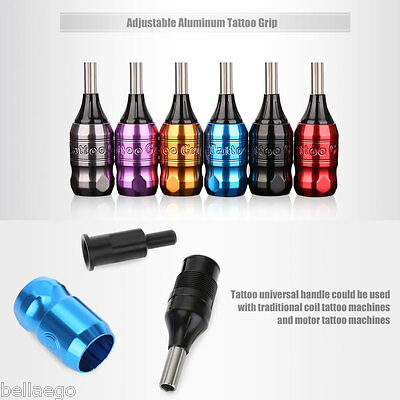 Adjustable Space Aluminum Tattoo Grip with 85mm 95mm Poles for Cartridge Needles