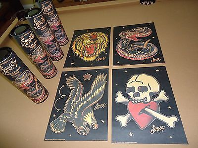 Set of 4 Sailor Jerry Rum Liquor Tattoo Art Mini Posters With Gift Tubes