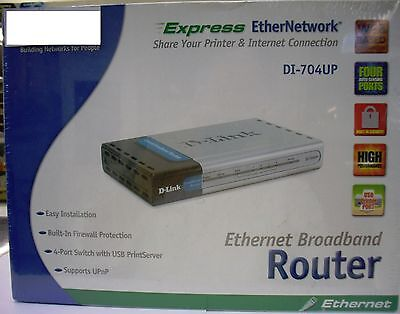 New D-Link Ethernet Router (DI-704UP) 4 Port Switch with USB Print Server