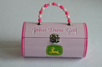 John Deere Girl Tin Round Storage Purse /Lunch Box  Kids Pink