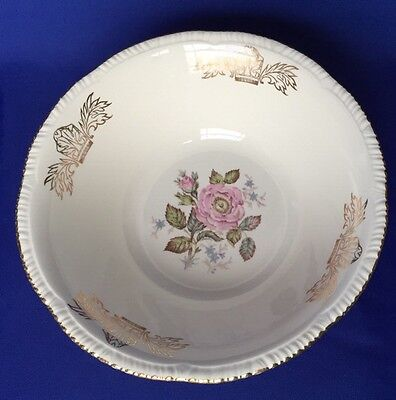 Homer Laughlin Queen Esther Serving Bowl Liberty Shape Pink Rose Gold Edge VTG