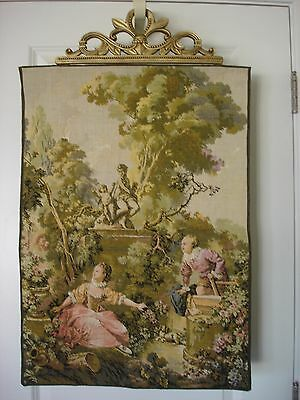 Antique/Vintage Tapestry Wall Hanging with Pastoral Scene and Gilt Bracket