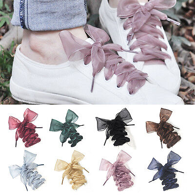 13Colors Shoelaces Flat Silk Satin Ribbon Sneakers Sport Shoes Laces Shoestrings