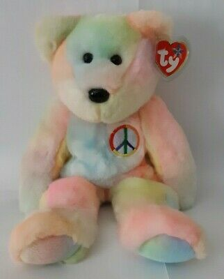 Ty Beanie Buddies Peace Bear Large 14 Inch Plush Stuffed Animal 1999 Retired
